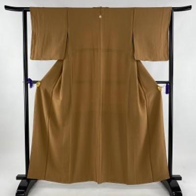 色無地 美品 優品 一つ紋 縮緬 薄茶色 袷 身丈159.5cm 裄丈62cm S 正絹 中古
