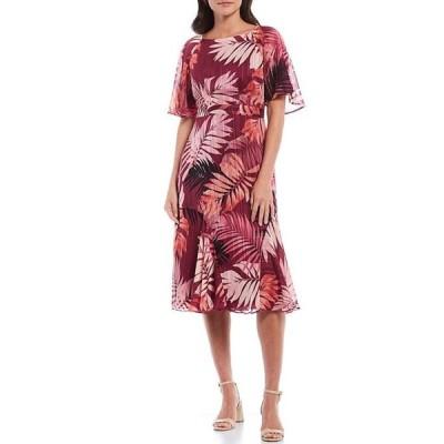 マギーロンドン レディース ワンピース トップス Tropical Floral Flutter Sleeve Midi Dress