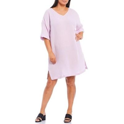 エイリーンフィッシャー レディース ワンピース トップス Plus Size Organic Cotton Lofty Gauze V-Neck Short Sleeve Knee Length Shift Dress Mallow
