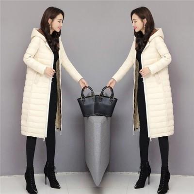 ダウンジャケット レディース 冬服 ゆったり 膝丈 軽い ゆったり フード付き 暖かい ダウンコート ファスナー 厚手