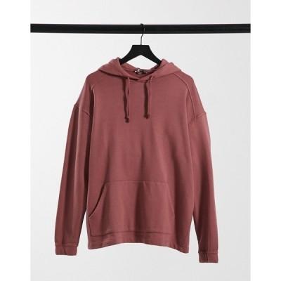 エイソス メンズ パーカー・スウェットシャツ アウター ASOS DESIGN co-ord oversized hoodie in washed purple Crushed berry