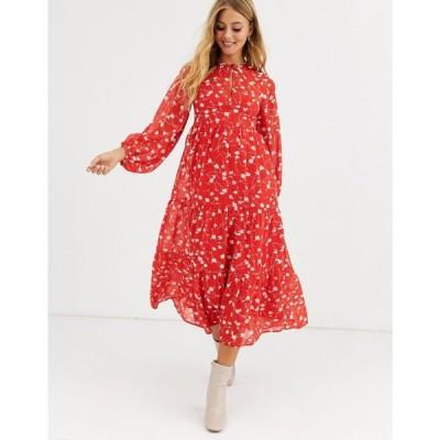エイソス ASOS DESIGN レディース ワンピース ティアードドレス ワンピース・ドレス tiered long sleeve smock maxi dress in floral print