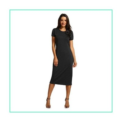 TOPUNDER Women Solid Dress Short Length O-Neck Mid-Calf Straight Princess Dress Black並行輸入品