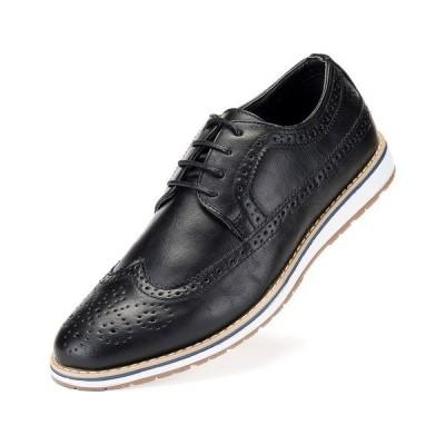 ミオマリオ ドレスシューズ シューズ メンズ Men's Ornate Wingtip Casual Oxford Shoes Black