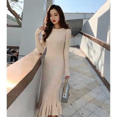 ✨ 韓国人気商品!!ニットワンピース 女性 春 2019  新しい スリム セータースカート  フィッシュテールスカート