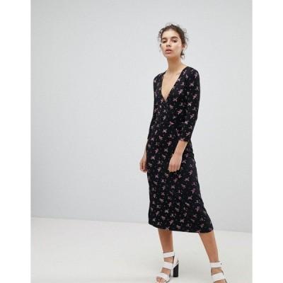 ミスセルフフリッジ レディース ワンピース トップス Miss Selfridge Wrap Front Ditsy Floral Print Midi Dress Multi