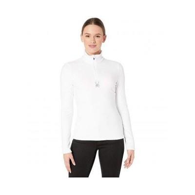 Spyder スパイダー レディース 女性用 ファッション アクティブシャツ Shimmer Bug Zip T-Neck - White