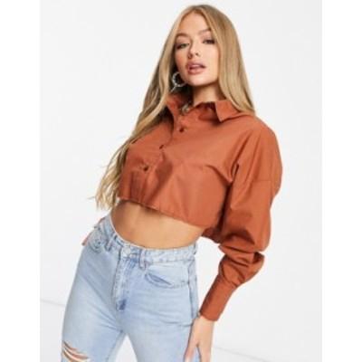 エイソス レディース シャツ トップス ASOS DESIGN cropped shirt with raw hem in rust Rust