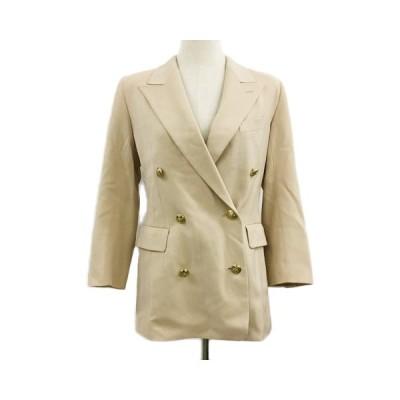 【中古】モガ MOGA ジャケット テーラード ダブル 肩パッド ウール 長袖 9 ベージュ レディース 【ベクトル 古着】