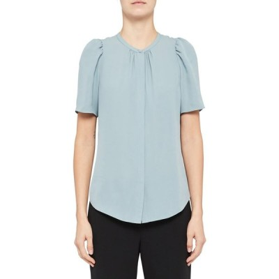 セオリー THEORY レディース ブラウス・シャツ トップス Classic Ruched Short Sleeve Silk Blouse Eggshell Blue