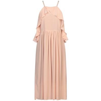 セミクチュール SEMICOUTURE 7分丈ワンピース・ドレス あんず色 38 シルク 100% 7分丈ワンピース・ドレス