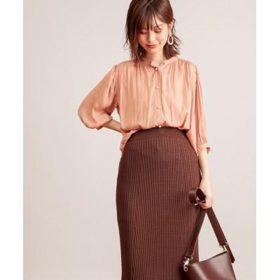natural couture / 【WEB限定カラー有り】パール釦とろみサテン7分袖ブラウス WOMEN トップス > シャツ/ブラウス