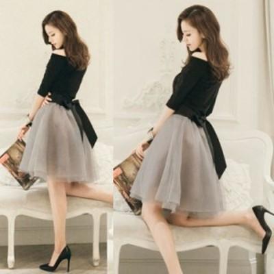 オフショルダー シンプル ベーシックカラー 透け感 チュール バックリボン 膝丈 ドレス