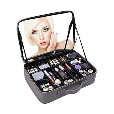 Rownyeon プロコスメボックス メイクボックス 化粧箱 ミラー 鏡付き 仕切り化粧品収納 メイク道具入れ 大容量 携帯便利 グレー41x30x11 cm