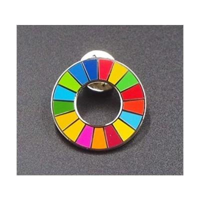 【Gooing】25mm 国連ガイドライン対応 SDGs シルバーフレーム UNDP ピンバッジ バッチ バッヂ (シルバー 角型)