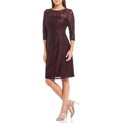 タハリエーエスエル  レディース ワンピース トップス Petite Size 3/4 Sleeve Lace Gathered Waist Dress