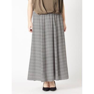 【大きいサイズ】【L-5L】ゆったりサイズ!プリントロングフレアースカート 大きいサイズ スカート レディース