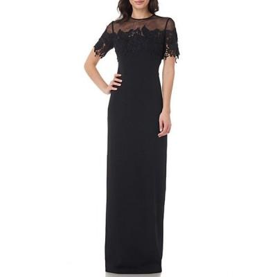 ジェイエスコレクションズ レディース ワンピース トップス Lace Trim Illusion Neck Stretch Crepe Gown