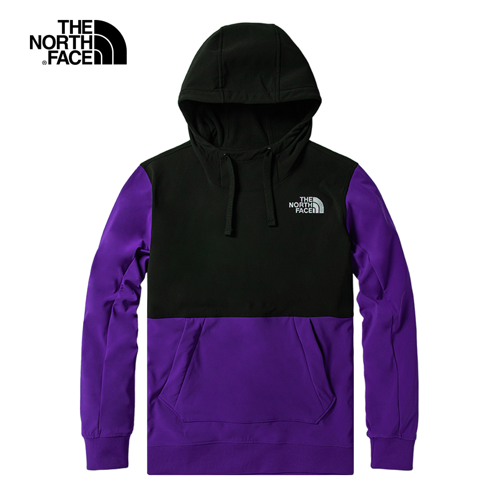 The North Face北面男款紫黑拼接防潑水連帽T恤 4VVUS96