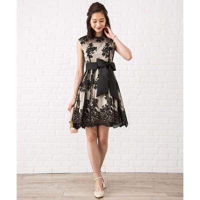 ドレス 【大きいサイズ有り! LL】花柄刺繍入りサッシュベルト付きチュールレースドレス