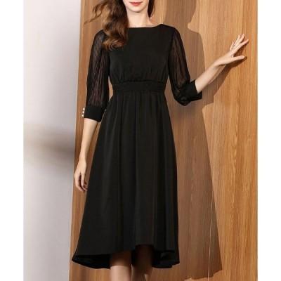 ドレス 袖レース切り替えロングドレス