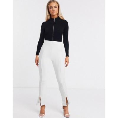 ファッションキラ レディース カジュアルパンツ ボトムス Fashionkilla split front slim pants in white White