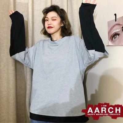 大きいサイズ Tシャツ トップス レディース ファッション ぽっちゃり おおきいサイズ あり 重ね着風 レイヤード 長袖 オーバーサイズ M L LL 3L 4L 秋冬