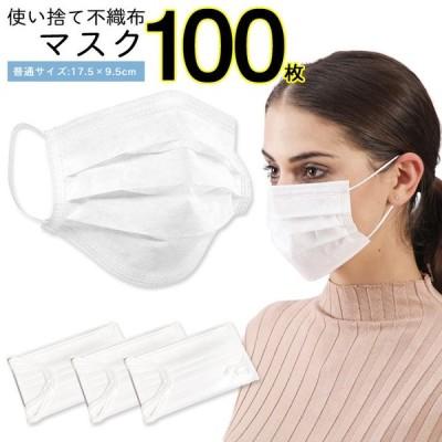 マスク 不織布 100枚 50枚入り×2 三層構造 ウィルス 不織布マスク 使い捨て 立体プリーツマスク 抗菌 レギュラーサイズ ###マスクRMSK100枚◆###