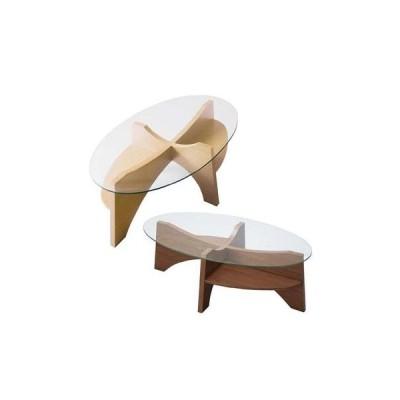 便利な対角線上の棚  オーバル ローテーブル / ガラス ノグチ風 センターテーブル 楕円 安い 棚付き 格安 幅105 p