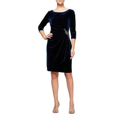 アレックスイブニングス レディース ワンピース トップス Stretch Velvet 3/4 Sleeve Ruched Sheath Dress