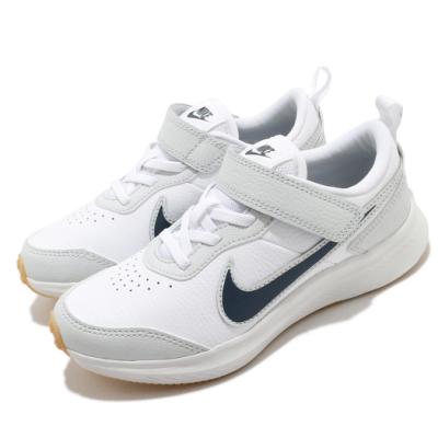 Nike 慢跑鞋 Varsity Leather 運動 童鞋 基本款 舒適 避震 魔鬼氈 輕量 中童 白 灰 CN9393100