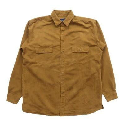 フェイクスウェード 長袖 シャツ イエローブラウン サイズ表記:XL