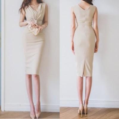 結婚式 ドレス パーティードレス お呼ばれ ワンピース 二次会 ドレス ノースリーブ ウエストリボン タイトドレス