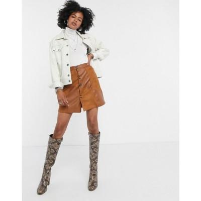 ロストインク Lost Ink レディース ミニスカート スカート mini skirt in faux suede patchwork ブラウン