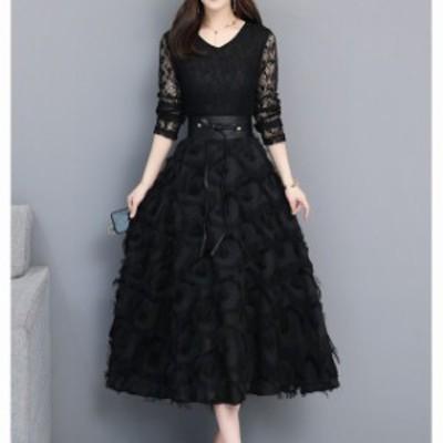 パーティドレス 結婚式 お呼ばれ ワンピース ドレス 袖あり パーティドレス 袖あり 二次會 Vネック レース ミディアム丈 大