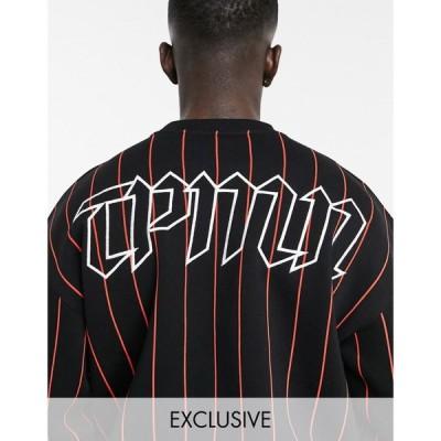 トップマン Topman メンズ スウェット・トレーナー トップス exclusive @ ASOS stripe oversized sweat in black ブラック