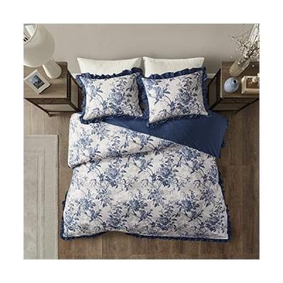 Madison Park マディソンパーク 100% Cotton Duvet Set Beautiful Floral Pattern, Ruffle Border Design All Season, Breathable Comforter Cover Bedding, Mat