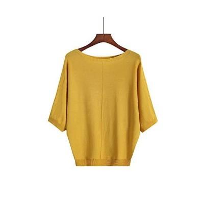 Blostirno レディス Tシャツ 大きいサイズ 五分袖 バットシャツ 無地 ゆったり 夏 イエロー