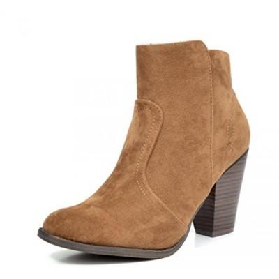 ドリームペア レディース ブーツ DREAM PAIRS Women's Stylish Cowboy Chunky Block Heel Zipper Closure Ankle Booties