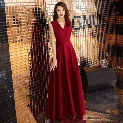 ロングドレス ワイン赤 50代ファション イブニングドレス ノースリーブ Vネック 襟付き 30代 40代 パーティードレス 二次会 お呼ばれドレス サテン