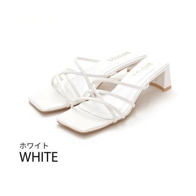 【ヴィヴィアン】 スクエアトゥメニー華奢ストラップサンダル レディース ホワイト S Vivian