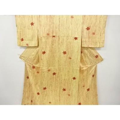 宗sou 楓に木目模様小紋着物【リサイクル】【着】