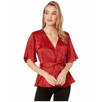 ビジョッププラスヤング シャツ トップス レディース Karlie Top Red Leopard Print