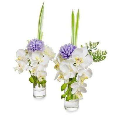 仏花 供花 造花 アートフラワー オーキッド マム ラベンダー ウォーターアレンジ 一対(2個セット) PRIMA PRMF-0069