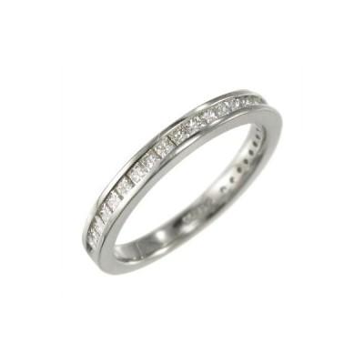 天然ダイヤ ハーフ 一文字 リング k10ホワイトゴールド 4月誕生石 プリンセスカット