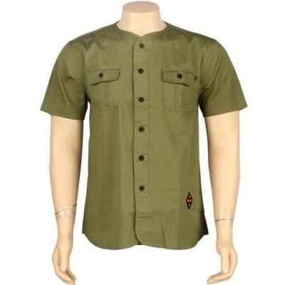 ハフ ユニセックス 服  HUF Twill Baseball Short Sleeve Shirt (olive)
