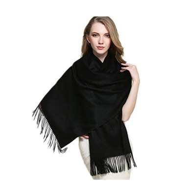 """Saferin Extra Large 78"""" X 28"""" Women and Men Thick Solid Cashmere Wool Pashmina Wrap Shawl Scarf with Gift Box(1.black)"""