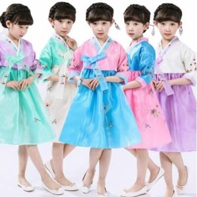 子供用チマチョゴリ韓流ドレス 刺繍イベントコスプレ衣装 女の子民族衣装 ワンピース 舞台服装cosplay  学園際文化際 コスチューム