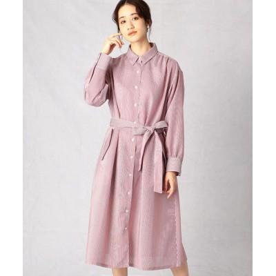 Comme ca Mature/コムサマチュア ストライプ シャツドレス ピンク F