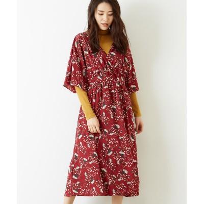 Green Parks(グリーンパークス)・RAY フラワーptカシュクール7分袖ワンピース (ワンピース)Dress